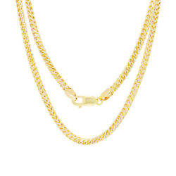 10k Yellow Gold Solid Mens 4mm Round Wheat Box Franco Chain Pendant Necklace 18