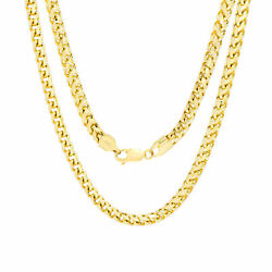 10k Yellow Gold Solid Mens 5mm Round Wheat Box Franco Chain Pendant Necklace 28