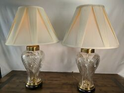 2 Frederick Cooper Vintage Lamps 70s 80shollywood Regency Cut Crystal And Brass