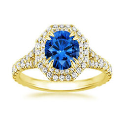 2.16 Ct Natural Blue Sapphire Diamond Wedding Rings 14k Solid Yellow Gold Size 7