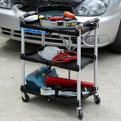 Folding Service Cart Mechanic Shop Grilling Party Rolling Table Portable Storage