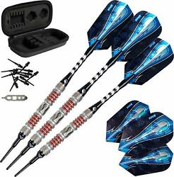 Competition Darts 3 Pack 18 Gram Soft Tip With Travel Case 80 Tungsten Home Bar