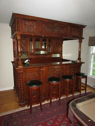 CARVED SOLID MAHOGANY BAR PUB OVERSIZED HOME BAR 6 FREE STOOLS