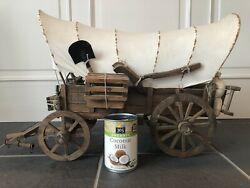 Large Antique Primitive Toy Wooden Prairie Schooner Covered Wagon Stagecoach