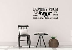 Laundry Room Open 24 Hours Wash Dry Fold Repeat Wall Sticker Vinyl Decal