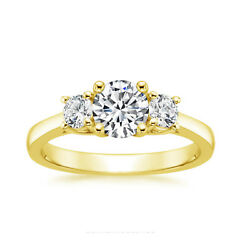 0.69 Ct Real Diamond Engagement Ring 14k Solid Yellow Gold Wedding Ring Size 6 7