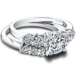 1.40 Ct Real Diamond Wedding Band Sets 14k Solid White Gold Size 4.5 5 6 7 Sale