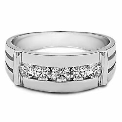 0.25 Ct Real Diamond Mens Bands Solid 14k White Gold Wedding Rings Size 9.5 9 10