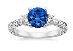 1.83 Carat Natural Blue Sapphire Diamond Rings White Gold Finish Womenand039s Rings