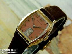 1936 Vintage Hamilton Morley Stunning Salmon Dial Serviced And Warranty