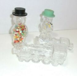 Old Glass Train Locomotive And Little Figures Candy Treats Container Lot