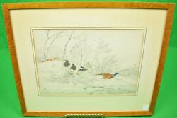 Huntsman W/ Two Game Dogs Pheasant Shooting Pencil And Watercolour By Henry Alken