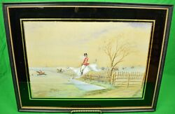 Huntsman Clearing Water Fence C1898 Gouache In Eglomise Frame By H.w. Standing