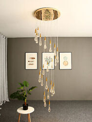 Modern Staircase Water Drop Chandelier Villa Pendant Dining Room Crystal LED Bar