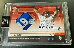 2019 Topps Now Pete Alonso 9/28/19 53rd Hr Rookie Record Auto Relic Red 06/10