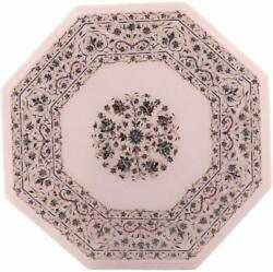 18 Marble Corner Side Table Top Inlay Semi Precious Stones With Marble Stand