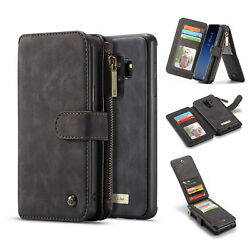 For Samsung Galaxy S9 Plus Leather Removable Wallet Magnetic Flip Card Case