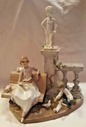 Lladro Large Figure Studying In The Park 5425 Retired 1991 Rare Mint Htf