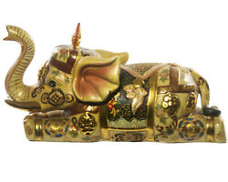 Porcelain Elephant Sculpture Hand Painted Enameled Decorated Gilded Gilt Statue