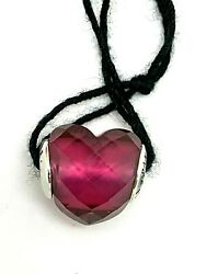Pandora Heart Charm Authentic Sterling Silver .925 Fuchsia Red Crystal 796600nfr