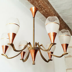 Beautiful Ceiling Chandelier 1950 Vintage Brass Glass And Copper 50s 50's