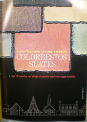 Johns Manville Asbestos Colorbestos Slate Catalog Roof Roofing Shingle 1963