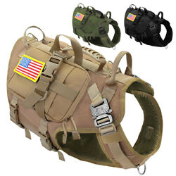Military Tactical Pet Dog Harness+3 Side Bags+2 Patches K9 Dog Molle Vest Large