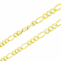 Real 14k Yellow Gold 8mm Italian Figaro Link Chain Necklace Mens 22- 30