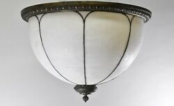 Antique 22 Domed Opaque Bent Glass Chandelier Shade Egg And Dart Details