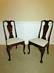 Kittinger Richmond Hill Cherry Queen Anne Side Chairs, Pair Dining Room Chairs