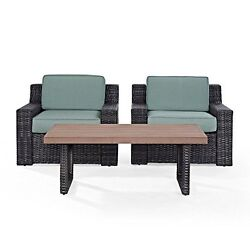 Crosley Ko70099br Beaufort 3 Pc Outdoor Wicker Seating Set With Mist Cushion New