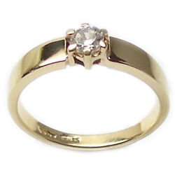 Ring Engagement Solitaire Yellow Gold 18 Carats Faith Women's with Zircon Bright