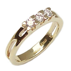 Engagement Ring Trilogy Yellow Gold 18 Kt. For Faith Women's Zircons