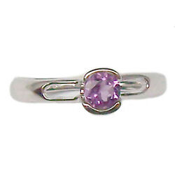 Ring Engagement Solitaire White Gold 18 Kt. with Amethyst Natural Faith Women's