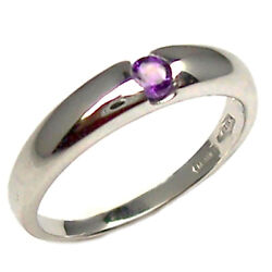 Engagement Ring White Gold 18 Kt. with Amethyst Natural Faith Money Clip Women's