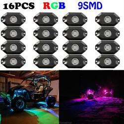 16x Pods Rgb Led Rock Light Kit Offroad Multi Color Strobe And Bluetooth Control