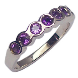 Ring Engagement Women's White Gold 18 Kt. with Amethyst Natural Faith Riviere