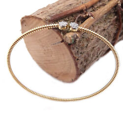 Silver Bracelet 925 Slave Womenand039s Rigid Yellow Gold Plated With Zircons