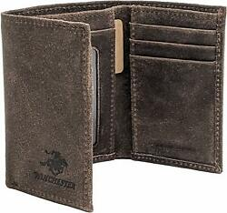 Winchester Mens Trifold RFID Wallet Full Grain Leather Little Amarillo Brown $24.99