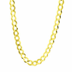 14k Yellow Gold Solid Real 8mm Authentic Mens Cuban Curb Chain Link Necklace 22