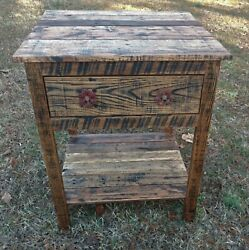 End TableBedside Table with Cabinet - Reclaimed Pallet Wood - Vintage Rustic Lo