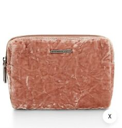 REBECCA MINKOFF NWT Womens Velvet Cosmetic Pouch Berry Smoothie Zip Clutch Bags $33.99
