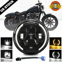 7 Inch LED Headlight Projector Halo Motorcycle For Harley Dyna Cafe Racer Bobber $29.99