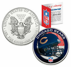Chicago Bears 1 Oz American Silver Eagle 1 U.s. Nfl Coin Coa And Stand