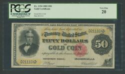 Fr1194 50 1882 Gold Note Pcgs 20 Vf+ Very Rare Only 48 Recorded Wlm9920
