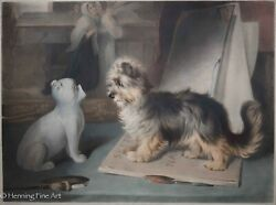 Thomas Eart Thomas Fairland Antique English Print of Yorkshire Terrier 1851 RARE