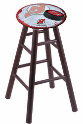 Oak Counter Stool In Dark Cherry Finish With New Jersey Devils Seat By The Ho...
