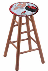 Oak Counter Stool In Medium Finish With New Jersey Devils Seat By The Holland...
