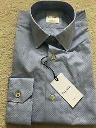 Paul Smith Long Sleeve Formal Tailored Fit Shirt Blue Dot Design Rrp £185