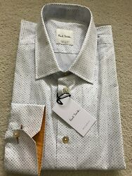 Paul Smith Long Sleeve Formal Tailored Fit Shirt White Dot Design Rrp £185